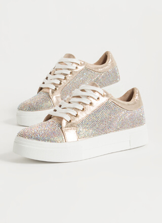 Flash Metallic Rhinestone Sneakers