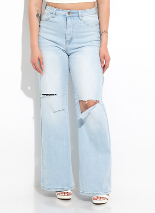 Slits Alright Wide-Leg Trouser-Cut Jeans
