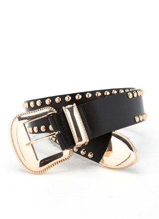 Get Edgy Studded Faux Leather Belt