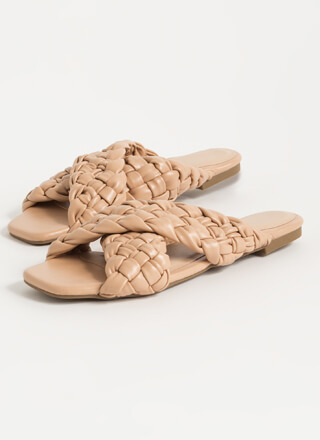 Crisscrossed Woven Strap Slide Sandals