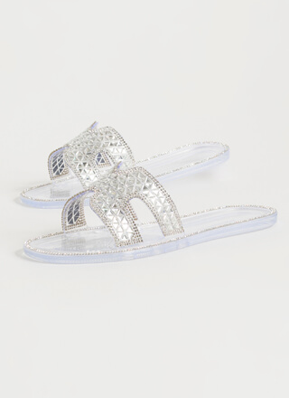 Jeweled Dimension Jelly Slide Sandals