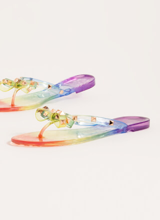 Edgy Girly Studded Jelly Thong Sandals