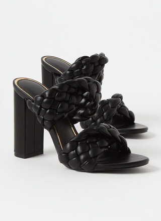 Twist And Weave Chunky Mule Heels