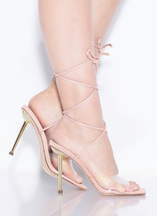 Clear Advantage Lace-Up Illusion Heels