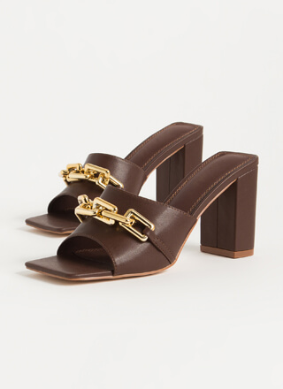 Chain-ged Chunky Square-Toe Mule Heels