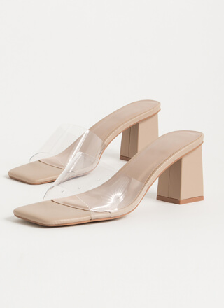 Clear Me Chunky Illusion Mule Heels