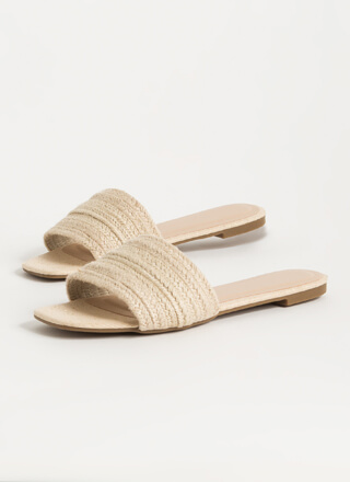 Nature Walk Braided Jute Slide Sandals