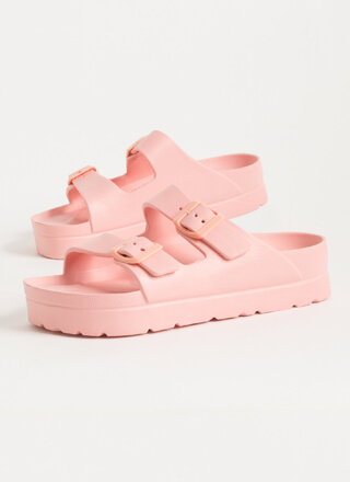 Cool Girl Buckled Jelly Slide Sandals