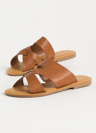 Run-Thru Strappy Cut-Out Slide Sandals