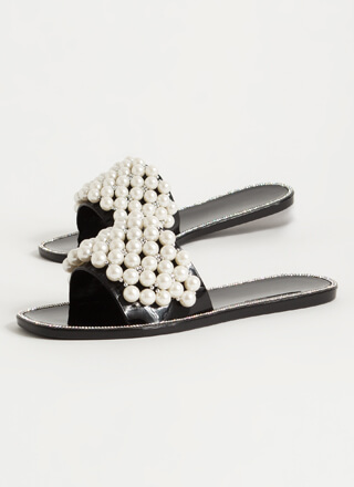 My Pearls Jeweled Jelly Slide Sandals