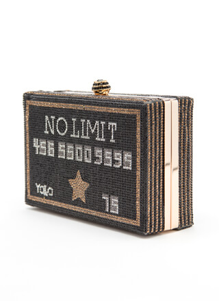No Limit Jeweled Credit Card Box Clutch
