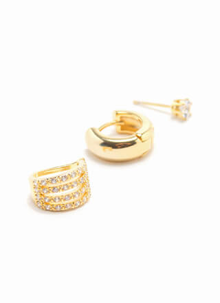 Sparkle Gold-Dipped 3-Piece Ear Cuff Set