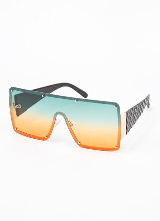 Luxury Brand Quilted Shield Sunglasses