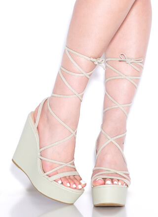 High Tied Lace-Up Platform Wedges