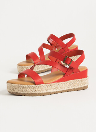 Strappy Vacation Braided Wedge Sandals