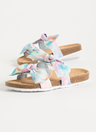 Bow Thang Knotted Tie-Dye Slide Sandals
