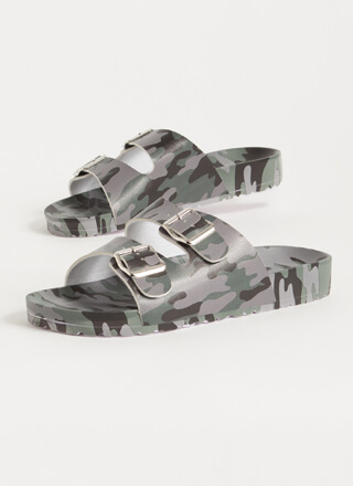 Have Fun Buckled Camo Slide Sandals