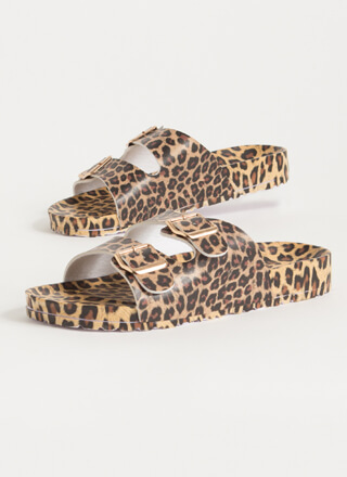 Have Fun Buckled Leopard Slide Sandals
