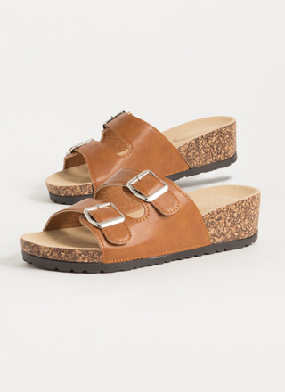 Slide This Way Buckled Wedge Sandals
