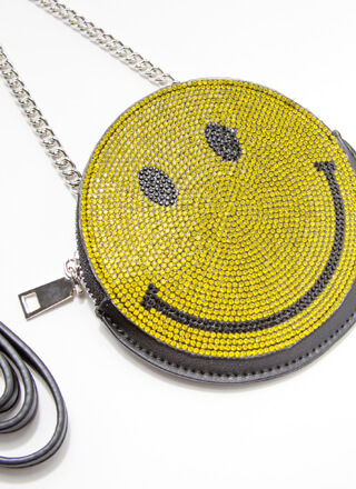 Happy Face Mini Rhinestone Disc Purse