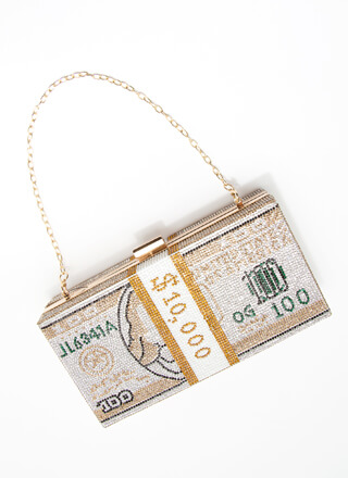 10K Rhinestone Money Box Clutch