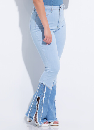 Country Flare Fringed Bell-Bottom Jeans