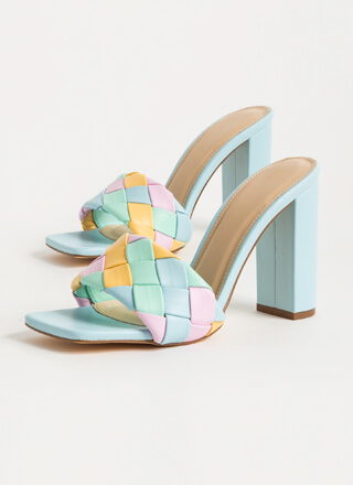 Over Under Colorful Woven Mule Heels