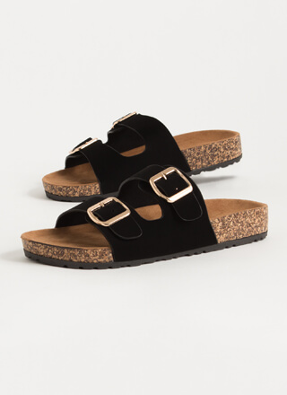Easy Way Out Faux Nubuck Slide Sandals