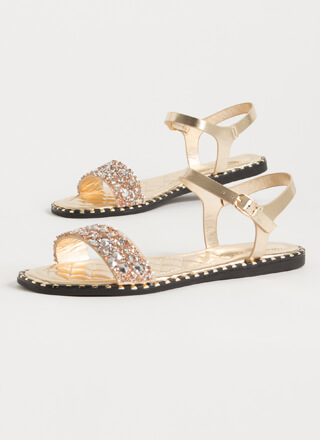 Jewels And Studs Metallic Sandals