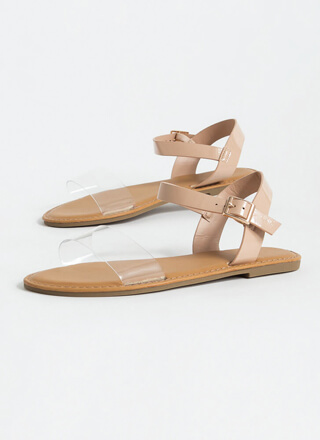 Open-Toe Weather Clear Strap Sandals