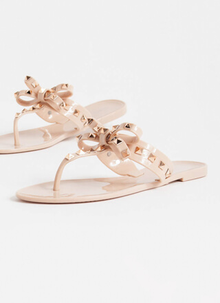 Bow For It Studded Jelly Thong Sandals