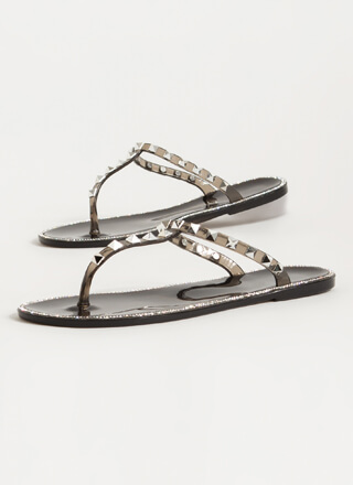 Studs And Stones Jelly Thong Sandals