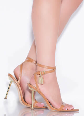 Lock And Key Charm Accent Strappy Heels
