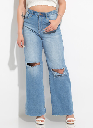 Want And Kneed Wide-Leg Cut-Out Jeans