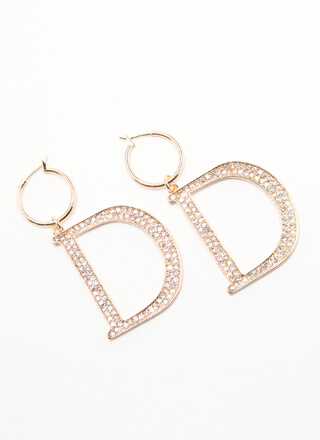 She Wants The D Jeweled Hoop Earrings