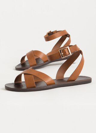 Take A Walk Strappy Faux Leather Sandals