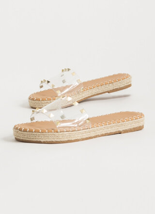 The Pyramids Clear Studded Slide Sandals