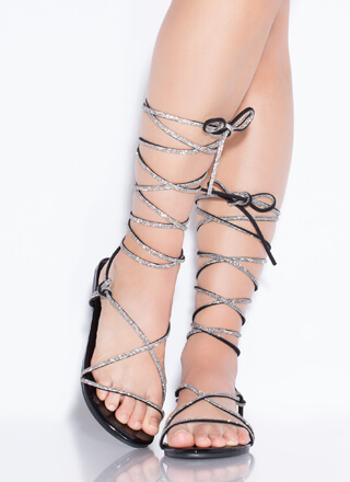 Jeweled Sparkle Lace-Up Sandals