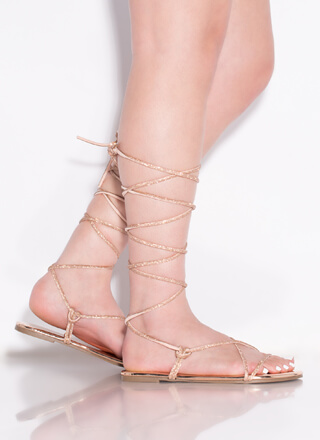 Jeweled Sparkle Shiny Lace-Up Sandals