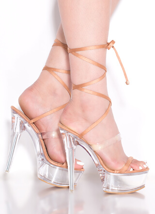 Sexpot Clear Lucite Lace-Up Platforms