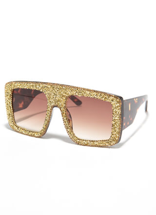 Glitter Girl Oversized Square Sunglasses