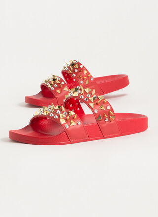 Spikes Studs And Slide Sandals