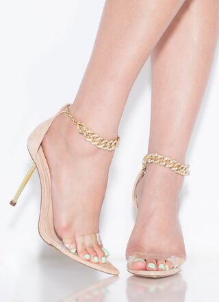 Grand Entrance Jeweled Chain Strap Heels
