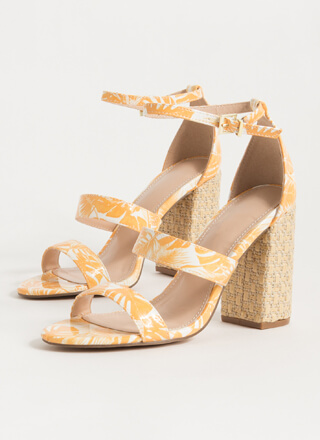 Palm Spring Chunky Tropical Heels