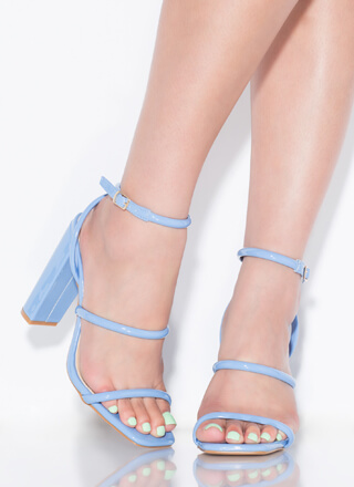 One Two Three Faux Patent Chunky Heels