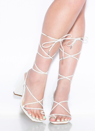 Dynamite Chunky Strappy Lace-Up Heels