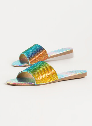 Bling Jeweled Holographic Slide Sandals