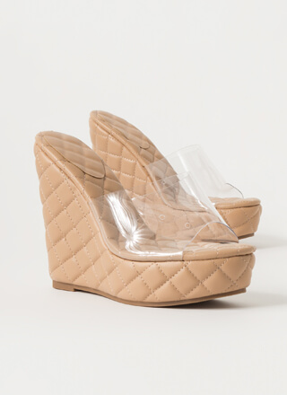 Clearly Quilted Platform Mule Wedges