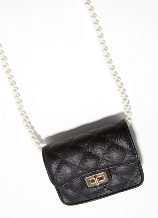 Mini Me Quilted Pearl Strap Micro Purse
