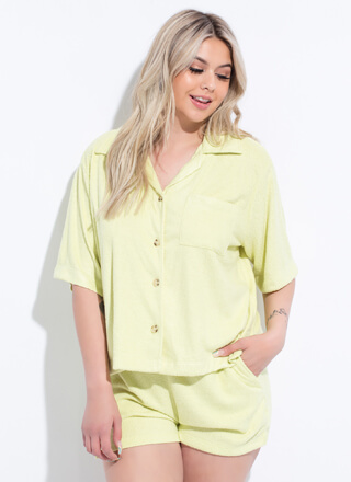 Home Soft Terrycloth Button-Up Top